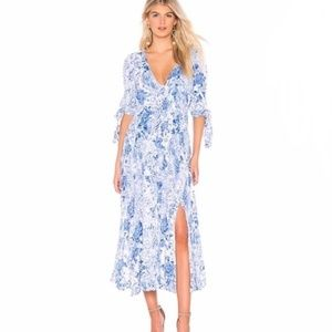 Free People Forever Always Blue White Midi Dress